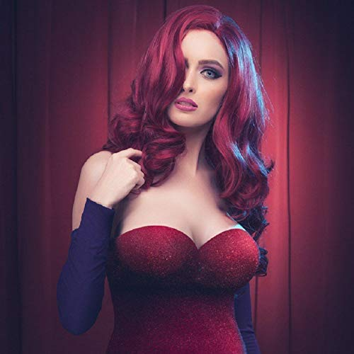 Red Wig Long Natural Wave Cosplay Wigs for Women 26 Inch with Side Part Synthetic Heat Resistant Fiber Hair for Party