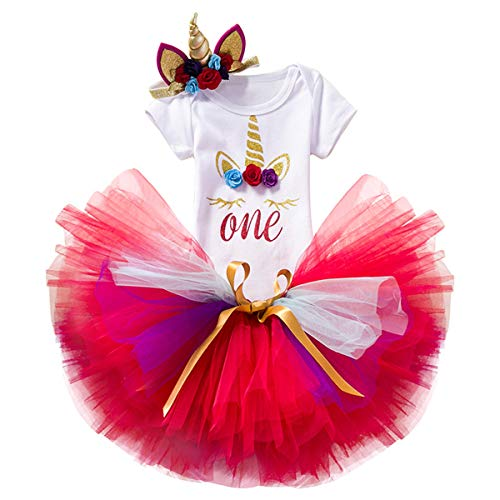 NNJXD Unicornio Arco iris Tutú Primer Cumpleaños Trajes de 3 piezas Mameluco + Falda + Diadema de oro (1 año, Rojo)