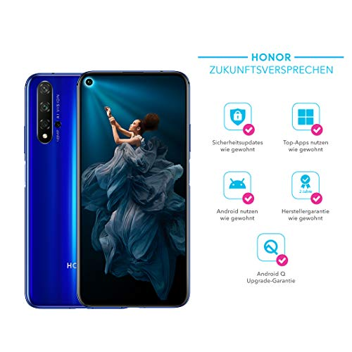 Honor 20 Smartphone, 48MP Ai Quad Camera, 128 GB, 6,26 Inch, 3750 mAh Accu, Android 9.0, Micro-USB naar USB Type C Adapter, Duitse Versie, Sapphire Blauw