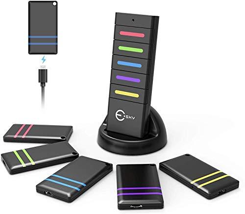 Key Finder Trova Chiavi Senza Fili Cercatore Chiave Wireless Cerca Telefono con Luce LED Portachiavi Ritrova Tutto, 1 trasmettitore RF e 5 ricevitori ricaricabili, Localizzatore Anti-Lost, nero