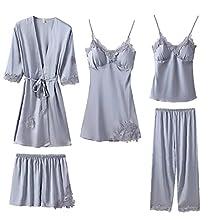 Aiyrchin Pantalones Mujeres Pijamas Set Señora Atractiva del Color sólido de la Ropa de Noche de Encaje Satinado Chaleco Pantalones Cortos del camisón de Robe con el cojín del Pecho 5PCS Azul L