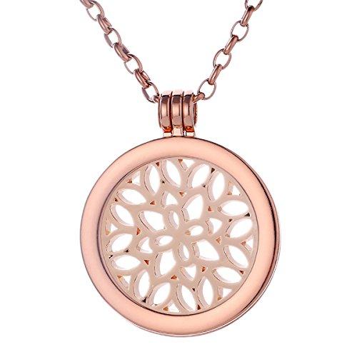 Morella Collana Donna 70 cm Acciaio Inossidabile Oro Rosa con Coins Moneta amuleto Ciondolo Rotondo 33 mm Ornamento Foglie Oro Rosa in Sacchetto di Velluto