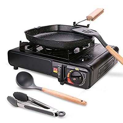 Odoland 6 pcs Camping Stove Set with Camping Cookware, Portable Butane Gas Stove, Nonstick Frying Pan, Silicone Cooking Utensils and Carry Case for Backpacking, Outdoor Camping Hiking and Picnic