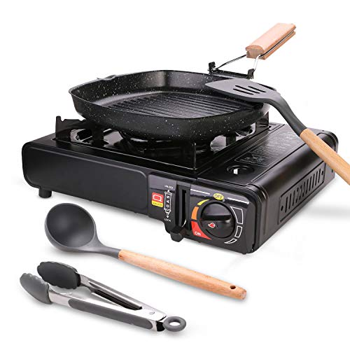 Odoland Kit de Casseroles Camping, Réchaud à Gaz 1 Feu portatif avec poêle antiadhésive, ustensiles de Cuisine en Silicone et...