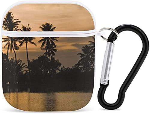 Funda Airpod para Apple AirPods 2 y 1 de paisaje rural Airpod funda para niñas de protección Airpods con llavero (grano cosecha trigo) - blanco Kerala Backwaters1