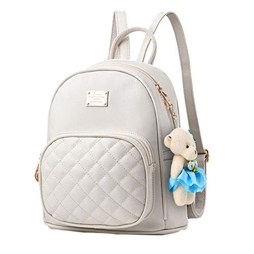 Alice Lindo peluche blanco mini pu mochila de cuero moda pequeño Daypacks monedero para niñas y mujeres