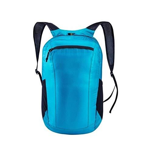 Angle-w Diseño elegante, viaje simple, 18L plegable al aire libre mochila viaje y deporte 20D Nylon impermeable senderismo bolsa Vamos a ir más lejos (color: azul, tamaño: A)