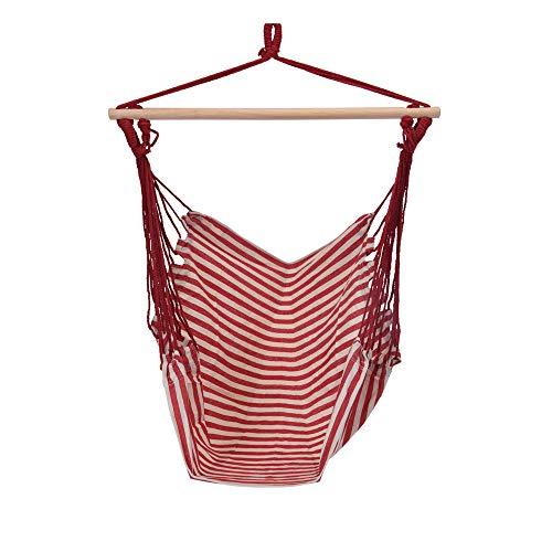 URBNLIVING Balancelle Hamac Tissu Tissu et Design Rayé Meubles de Jardin pour Intérieur et Extérieur Jusqu'à 120kg Red
