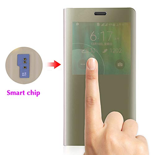 Phone Case for Samsung Galaxy Note 4 Flip Folio Leather Cover with Screen Protector S Smart Chip Cell Accessories Slim Hard Mirror Cute Clear View Glaxay Note4 N910A Not Notes Women Girls Men Gold