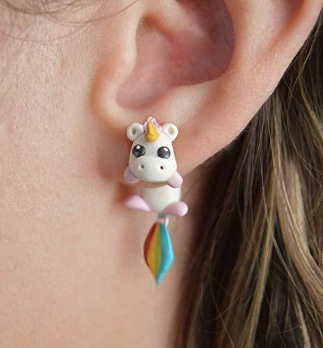 SMXGF TTPAIAI 30 Polymer Clay Cute Unicorn oorbellen for vrouwen mode-sieraden Handgemaakte 3d Pegasus Horse Stud Earring Meisjes Kinder Gift