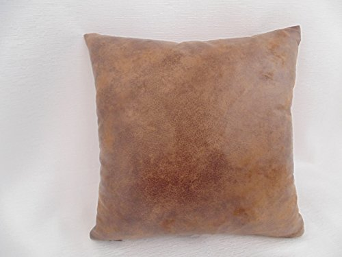 Light Brown Distressed Faux Suede - leather- like Decorative Pillow, Insert included, 18 inch Handmade Pillow Cover + pillow insert, zippered pillow, machine washable