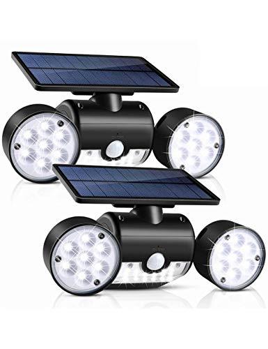 WYPG Luz Solar Exterior, Foco Solar LED De Exterior De Ajustable De 360 Grados con Detector De Movimiento,Grado Impermeable IP65, Luz Nocturna Segura Adecuada para Garaje Patio Y Jardín
