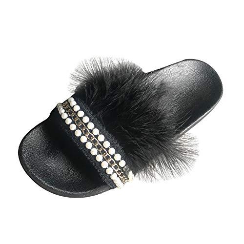 DAIFINEY Damen Hausschuhe behaart Bequem Pantoffeln Kuschelige Home Indoor Outdoor Slippers Freizeit rutschfeste(1-Schwarz/Black,36)