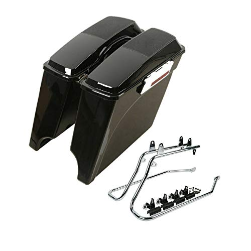 Great Deal! XFMT 5 Stretched Saddlebags W/Speaker Lids & Conversion Brackets For Harley Softail 198...