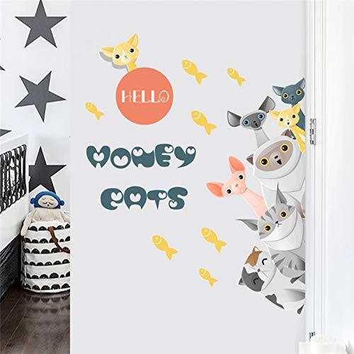 YUIOP Familia perro pata pescado estrella puerta refrigerador pegatinas de pared para niños habitación decoración para mascotas calcomanías para el hogar mural artes cartel