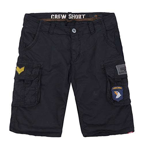 Alpha Industries Crew Short Patch 186209 - Baumwolle Elastan, Farbe:Black, Groesse:31