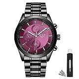 BOSCK Orologi Uomo, orologi da polso da uomo sportivi di moda con acciaio inossidabile, orologio da polso al quarzo analogico viola impermeabile da 30 m per uomo(viola)