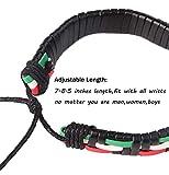 Finrezio 22 Pcs Lot Bracelets Vintage Bracelet en Cuir Perles de Bois Homme Femme Tribal Ethnique Boho Bracelet Tricoté