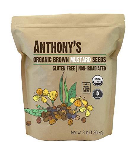 安东尼有机棕芥菜种子,3磅,无谷蛋白,非转基因,生酮友好