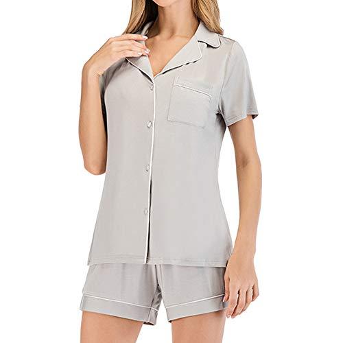 Lilon - Conjunto de pijama para mujer, manga corta, pantalón corto y pantalón corto Color gris. M