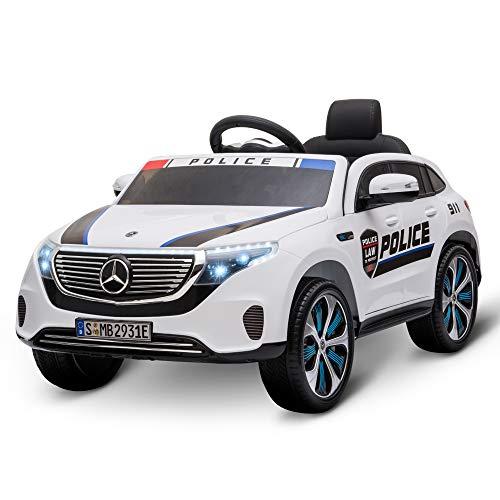 HOMCOM Coche Eléctrico de Policía para Niños Mercedes EQC Batería 12V +3 Años con Mando a Distancia Música Bocina y Faros Doble Apertura 106x68x53 cm Blanco