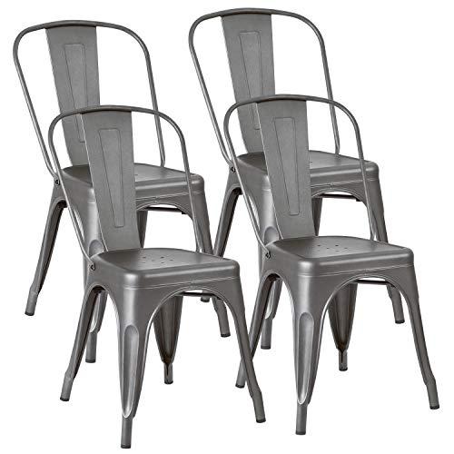 JUMMICO - Silla de comedor apilable para interiores y exteriores, estilo vintage industrial, sillas de cocina y café, con respaldo (4 unidades), color negro