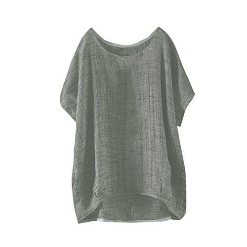 ESAILQ Damen Sommer Kurzarm T-Shirt V-Ausschnitt mit Schnürung Vorne Oberteil Tops Bluse Shirt(S,Grün)