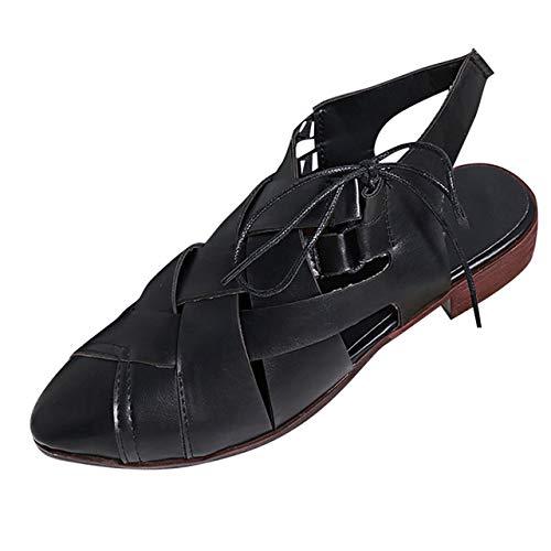 Andalias De Las Mujeres Bohemias,Negro Mujeres Moda Pisos Punta Estrecha Zapatos De Tacón Bajo Con Cordones Zapatos Únicos Sandalias Romanas Color Sólido Cómodo Retro Al Aire Libre Plano Con Sanda