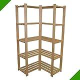 170 x 83 x 83 x 37 cm 5 Böden sehr großes stabiles Eckregal Standregal Aufbewahrungsregal Holz...