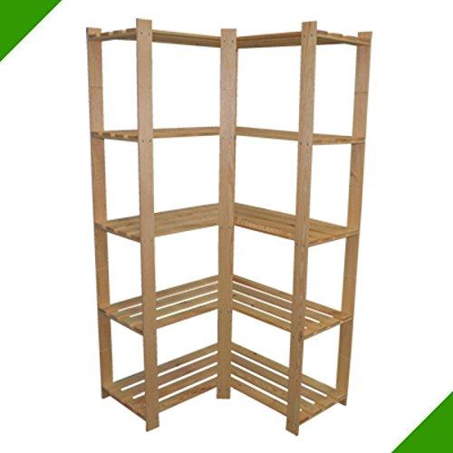 170 x 83 x 83 x 37 cm 5 Böden sehr großes stabiles Eckregal Standregal Aufbewahrungsregal Holz Unbehandelt Holzregal Lagerregal Bücherregal Regal Aktenregal