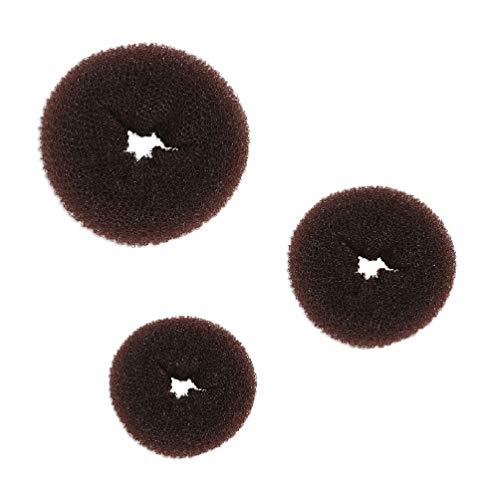 Beaute Galleria–Bundle 3piezas Mini marrón pelo Donut Moño Anillo...