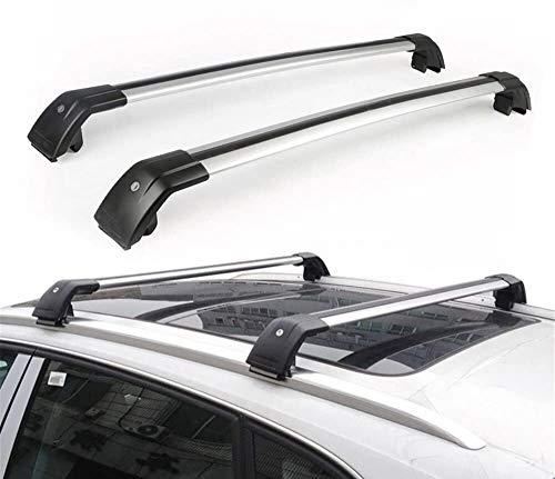 Ajuste for Mitsubishi Outlander 2013-2018 aluminio bloqueo ajustable Barras antirrobo Barras de techo equipaje equipaje Bastidores Bastidores de techo del carril de la barra cruzada Travesaño - Plata