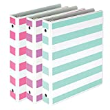 Samsill Fashion Mini 3 Ring Binders 1 Inch / 7.5' x 9.1' Fits 8.5' x 5.5' Paper and Sheet Protectors/Cute Binders Assorted Stripe Design/Purple, Pink and Turquoise / 3 Pack Mini Binders