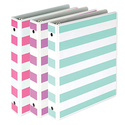 """Samsill Fashion Mini 3 Ring Binders 1 Inch Fits 8.5"""" x 5.5"""" Paper and Sheet Protectors, Cute Binders Assorted Stripe Design, Purple, Pink and Turquoise, 3 Pack Mini Binders"""