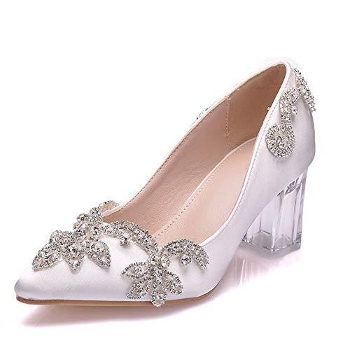 Zapatos De Novia Para Mujer, 7 cm Cristal Transparente Cuadrado Zapatos De Boda De Tacón Grueso Zapatos De Novia De Diamantes De Imitación Reunión Anual Etapa De Rendimiento Tacones Altos,Blanco,40EU