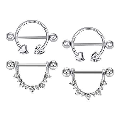 AVYRING Piercing Pezon Anillo 14G 2 Pares Acero Inoxidable Piercing Pezon Shield Barretta Joyas para el Cuerpo para Mujer Niñas - Plata