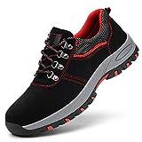 LBWNB Zapatos De Seguridad Hombre Mujer con Puntera De Acero Calzado Cómodas Ultraligero & Transpirables,Negro,35