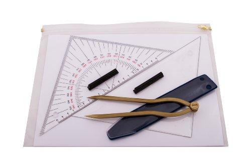 Navigationsbesteck - Navigationsset für Ausbildungszwecke 27 cm- 2 Dreiecke, Zikel, ZIP-Tasche
