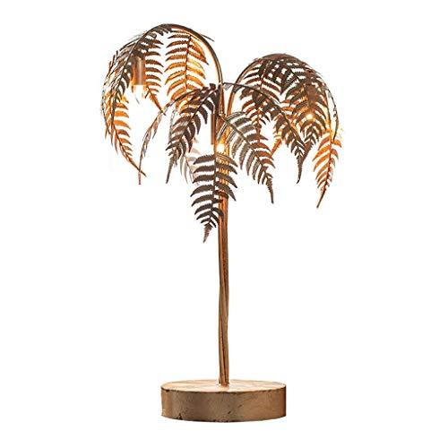 PIAOLING Stehleuchten Goldenes Metall Palme Tischlampe, 3 Licht Dask Lampe for Wohnzimmer Energiespar Dekoration Tischlampe 80cm