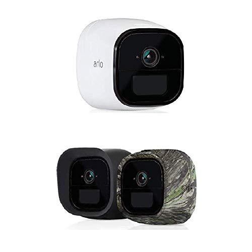 Arlo Go kabellose Innen/Außen 1 LTE HD Überwachungskamera (3G/4G-LTE, Wetterfest, Nachtsicht, 2-Wege-Audio) weiß + LTE Silikonbezüge (offiziell, 2er Set) schwarz/Camouflage