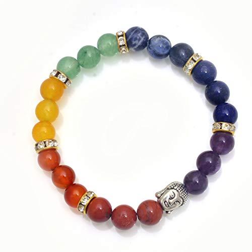 Myhealingworld Buddha Head Charm 7 Chakra Healing Stretchable Bracelet with 8mm Natural Chakra Stones Beads.
