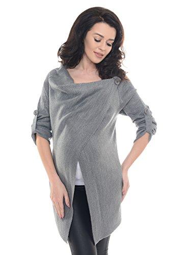 Purpless Damen Warm Schwangerschaft Strickjacke Still-Pullover Umstandskleidung 9001/5 (36/38, Dark Gray)