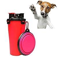 ペット用品 ペットの屋外ポータブル二重使用水とフードカップ折り畳みボウル 給餌・散水用品 (色 : Red)