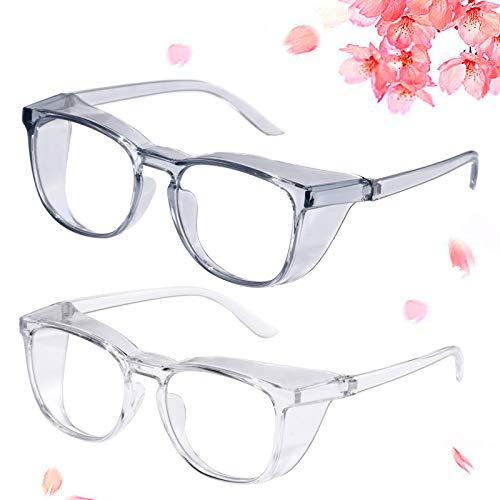 Anti Fog Safety Glasses, Anti UV Protective Glasses Blue Light Blocking Safety Glasses For Women Dustproof Anti Pollen Safety Goggles With Side Shields(Grey+Transparent)