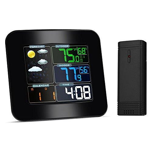 iLifeSmart Funkwetterstation mit LCD Farbdisplay, TS-75 Wetterstation inkl. Außensensor, DCF-Empfangssignal, Innen- und Außentemperatur und Hygrometer, Wettervorhersage Piktogramm, Tendenzanzeige