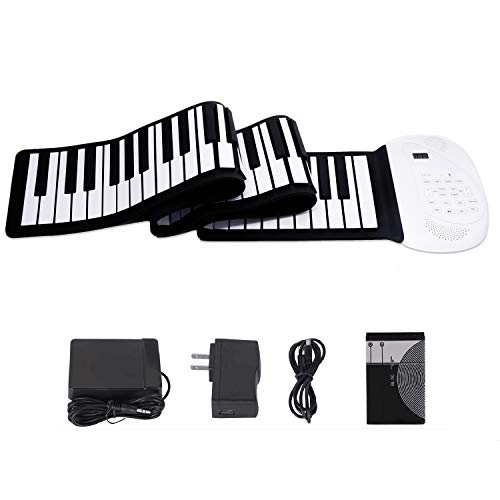 JAEZZIY Roll Up Piano, 88 Keys Electric Piano Keyboard, Upgraded Portable Keyboard Piano with Bluetooth Microphone Built-in Double Loud Speaker Rechargeable Battery Piano for Kids Beginners Gift
