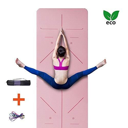 AJ Professionell Yogamatte Pilates Matte Kautschuk 6mm Dick rutschfest Schadstofffrei mit Tragegurt Tasche
