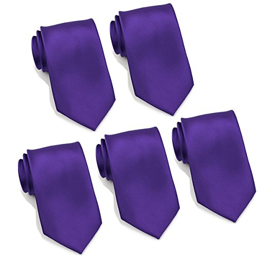 Mens Formal Tie Wholesale Lot of 5 Mens Solid Color Wedding Ties 3.5' Satin Finish (Purple)