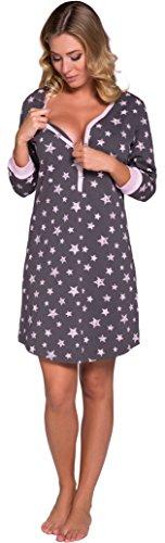 Italian Fashion IF Nachthemd Damen Geburt Stillnachthemd Mutterschaft Schwangerschaft Nachtwäsche Umstandsmode mit Durchgehender Knopfleiste geburtshemd für Schwangere (L, Rosa Grau)