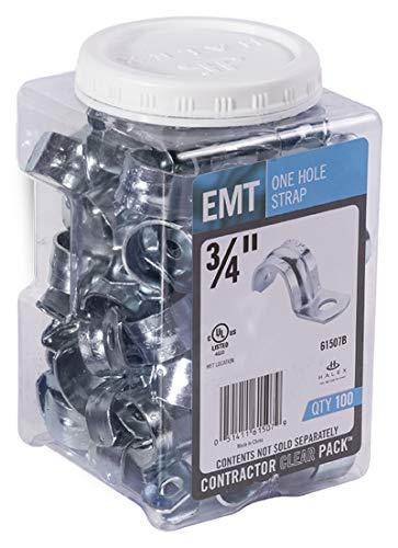 Halex, 3/4 in. Electrical Metallic Tube (EMT) 1-Hole Straps , 61507B, 100 per pack